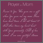 Prayer: For My Mom